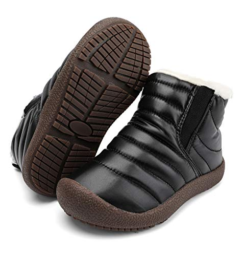 Zefani Kids Waterproof Snow Boots Winter Anti-Slip Fur Lined Outdoor Warm Shoes Black 7 M US Toddler (Best Anti Slip Snow Boots)