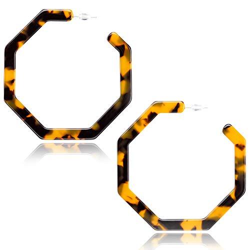 Enameljewelries Tortoise Hoop Earrings Statement Acrylic Geometric Resin Hoop Earrings with 925 Sterling Silver Post Bohemian Tortoise Shell Earrings for Women Girls (D1#Tortoiseshell)