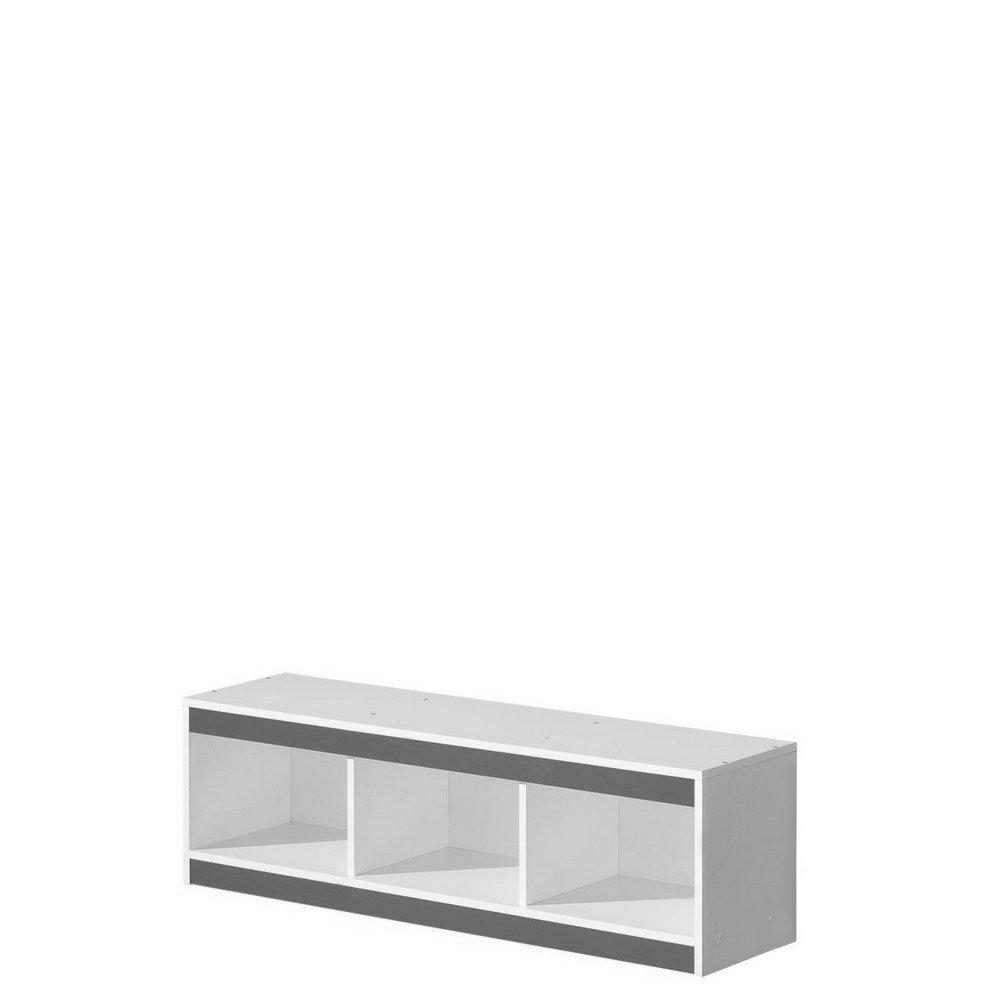 Hängeregal Wandregal, Wandboard GULIVER (weiß     grau hochglanz) 9ff413