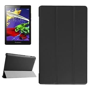 Texture Karst Horizontal con Solapa Solid Color Funda con Tapa Case Cover Three-Folding Holder Para Lenovo Tab 2 a 8-50F (Black)