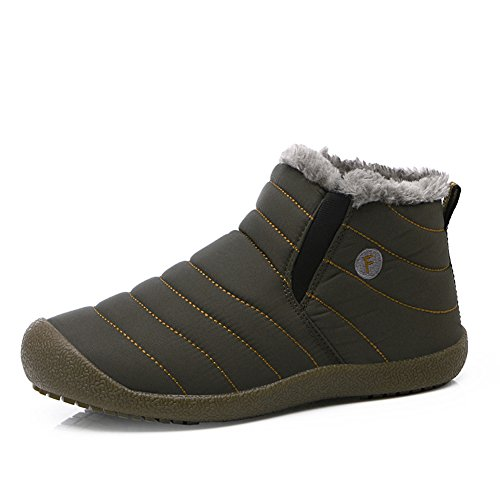 Enly Slip-on Waterproof Snow Winter Boots for Men Women,Anti-slip Lightweight Ankle Bootie with Fully Fur Foliage Green (Man Boots For Sale)