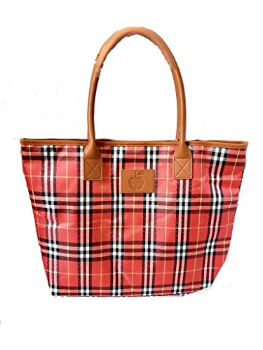 Best Teacher Apple - Large Teacher Tote Bags - Perfect for Work, Gifts for Teachers, Teacher Appreciaiton Day (Best Teacher Ever Apple Red Plaid)