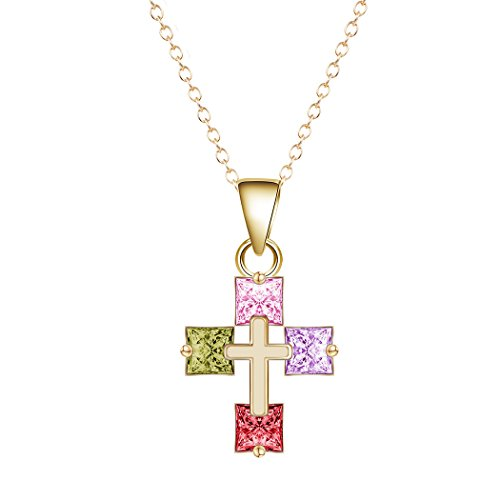 Multicolor Cubic Zirconia Gemstone Necklace Cross Gold Plated Crystal Pendant Clavicle Chain Necklace Delicate Jewelry