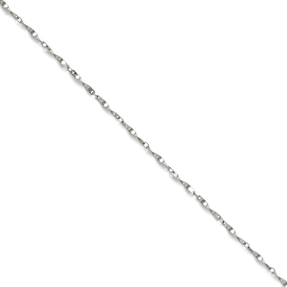 PriceRock Stainless Steel Polished Fancy Link Spiral Chain Necklace 8.5 Inches Long