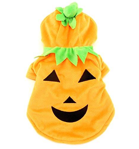 PETLOVE Pumpkin Dog Costume Hoodie Pajamas Winter Coat Small Pet Cat Puppy Halloween Clothes Orange S