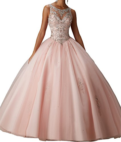 Alinafeng Dress Girls' Ball Gown Beads Prom Quinceanera Dress 2018(2,Pink)