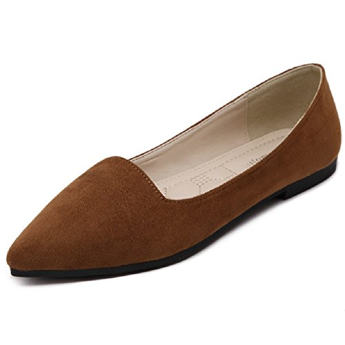 Meeshine Women's Classic Pointy Toe Ballet Flat Comfort Soft Suede Ballerina Slip On Flats Shoes(10 B(M) US,Brown) (Toe Pointy Brown)