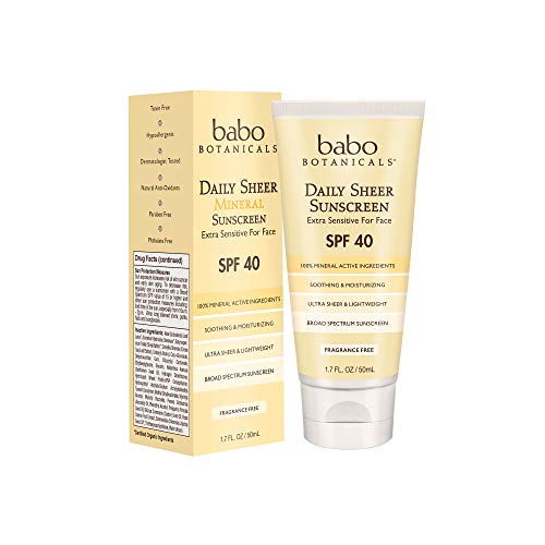 Babo Botanicals Daily Sheer Mineral Face Sunscreen Lotion SPF 40, Non-Greasy, Fragrance-Free, Vegan, For Babies, Kids or…