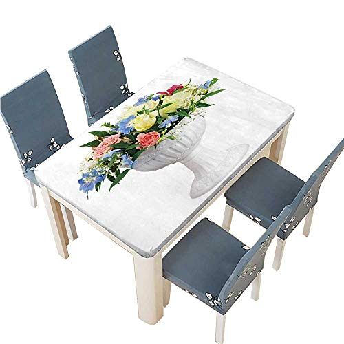 PINAFORE Tablecloth Waterproof Polyester Table Colorful Flower Bouquet Arrangement Centerpiece in vase Isolated on White Background Tablecloth for Wedding/Party W25.5 x L65 INCH (Elastic Edge)