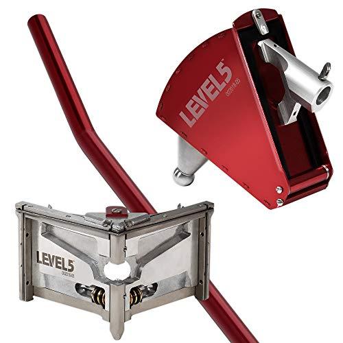 8-Inch Corner Applicator Box + 3-Inch Corner Finisher + Standard Handle - LEVEL5 | Pro-Grade | Angle Head Drywall Tool| 4-512