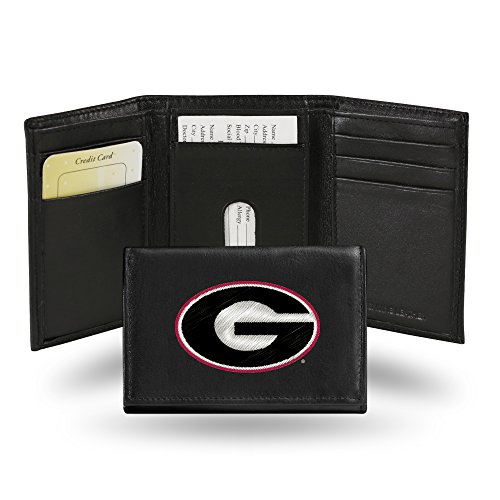 Rico Industries NCAA Georgia Bulldogs Embroidered Leather Trifold Wallet
