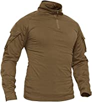 TACVASEN Men's Military Shirts Slim Fit Pullover Long Sleeve 1/4 Zip T-S