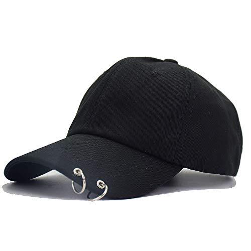 (Kokkn BTS Baseball Cap Wings Kpop Bangtan Boys Outdoor Iron Ring Snapback Hat Casual Adjustable Dad Hat Hip Hop Hat (Black Ring))