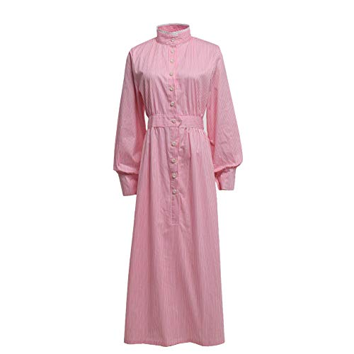 GRACEART Pioneer Women Costume Prairie Dress Pink Stripe (Pure Cotton) X-Large ()
