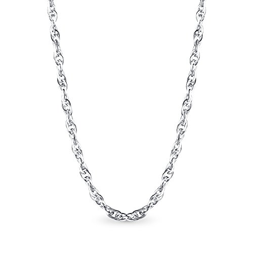 - T400 925 Sterling Silver 1.7mm Rope Cable Curb Link Chain Necklace 16 18 20 24 30 inch for Women Men Boys Gift