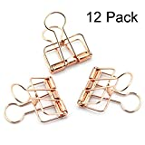 Metal Wire Binder Clips Decorative Clips Tacks for Cork Board and Photo Wall Photo, File Storage, Home Office Supplies No Holes for The Paper 12 Pack (12pcs Rose Gold)