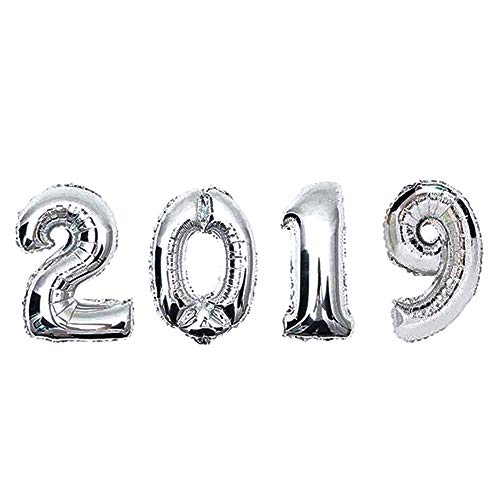 - 2019 New Year Number Foil Balloon Gold Silver Party Decoration