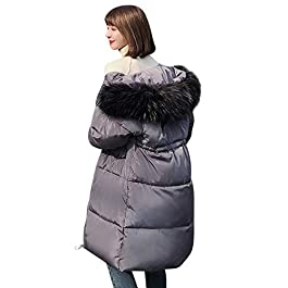 FNKDOR Women Ladies Parka Coat Quilted Padded Puffer Bubble Fur Collar Overcoat Oversized Long Coat