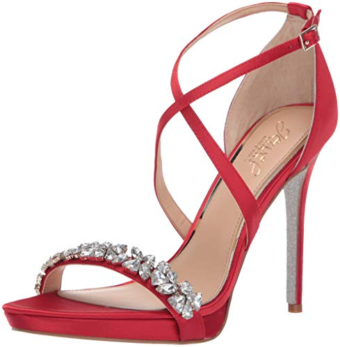 Badgley Mischka Jewel Women's DANY Heeled Sandal, red Satin, 8.5 M - Satin Wedding Red Shoe