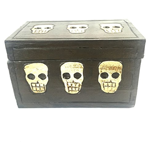 Oma Skull Treasure Chest Cross Bones Wood Trunk Treasure Box Skeleton Decor - Hand Carved]()