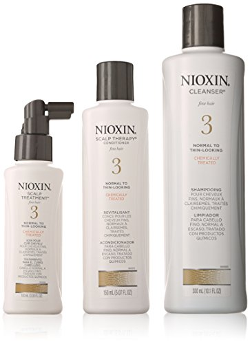 Nioxin System 3 Thinning Hair for Unisex Cleanser 10.1 oz, Scalp Therapy 5.07 oz, Scalp Treatment 3.38 (Enh Kit)