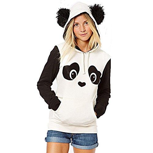 Damen Kapuzenpullover Schlabber Übergang Spielerische Panda Hoodies Schwarz-Weiß-Hit Farbdruck Fleece Pullover (S, Panda)