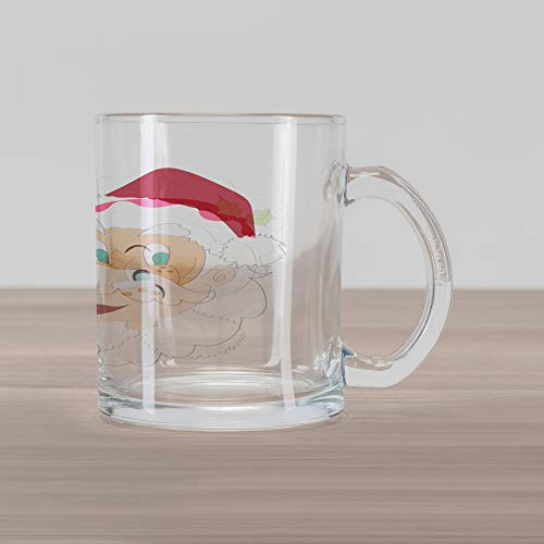 Ambesonne Mr Mrs Glass Mug, Mr and Mrs Santa Clause North Pole Inhabitants Christmas Themed Cartoon Characters, Printed Clear Glass Coffee Mug Cup for Beverages Water Tea Drinks, Red Cream ()