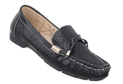 Schuhcity24 Damen Schuhe Mokassins Halbschuhe Schwarz