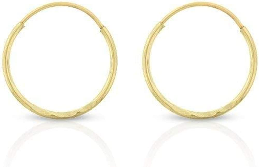14k Solid Gold Endless Diamond-Cut Hoop Earrings Sizes 10mm - 20mm and 3-Pair Sets, 14k Gold Thin Hoop Earrings, Cartilage Earrings, Helix Earring, Nose Hoop, Tragus Earring, 100% Real 14k Gold