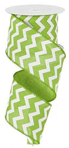 chevron-wired-edge-ribbon-25-lime-green-white-10-yards