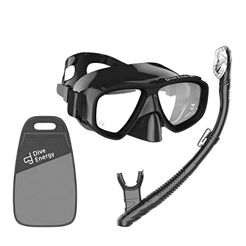No Fog Snorkeling Set - Anti-Fogging Protection with Tempered Glass - Clear View Snorkel Mask - Easy Breathing, No Leaks Mask Snorkel Set + Carry Bag ()