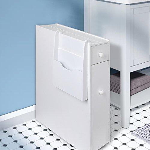 Bathroom Floor Storage Cabinet Drawer Slim Bathroom Cabinet Free Standing Tight Space Bathroom Organizer with Magazine Holder Home Kitchen Storage Cabinet White(US Stock) by Qotone