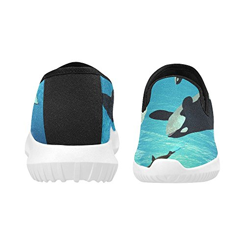 D-story Shoes Fashion Slip-on Womens Canvas Sneakers Killer Whales