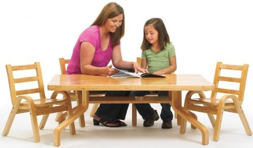 Angeles Furniture Natural Wood Collection 30 x 48 x 20'' Rectangle Preschool Table and Chair Set by Angeles
