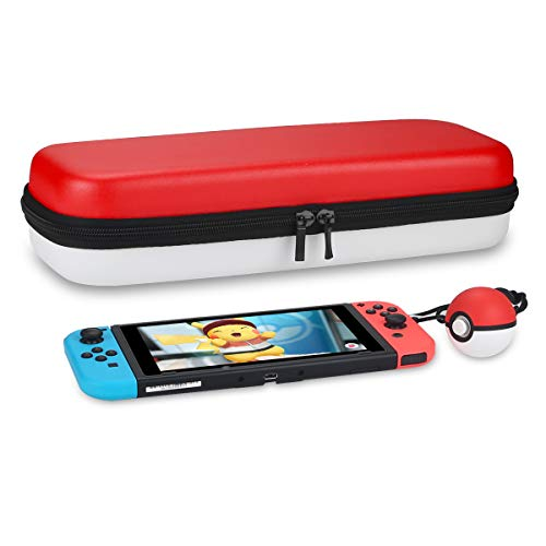 - Joyhood Carrying Case Compatible with Nintendo Switch RED & WHITE Fits Pokeball Plus, 29 Game Card Slots Protective Hard Shell Portable Travel Case With Handle and Pouch For Accessories