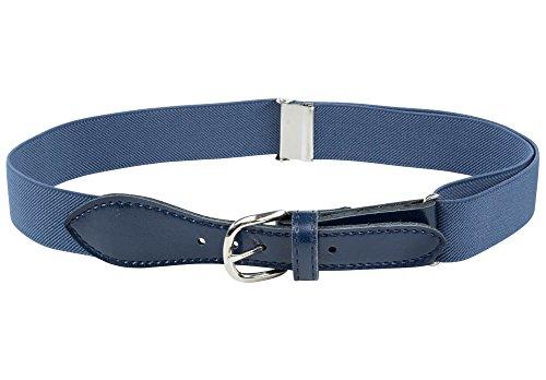 - Kids Elastic Adjustable Strech Belt with Leather Closure - Denim Blue