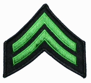 Lime Green Corporal Stripes Rank insignia Chevron Military Uniform Patch ()