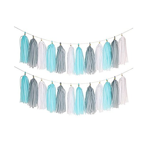 Umiss 23pcs Party Tissue Pom Poms Tissue Flowers Baby Blue White Grey Baby Boy Shower/Party Paper Decorations First Birthday Boy Tissue Flowers Tassel Garland Circle Paper Baby Shower Decorations Photo #3
