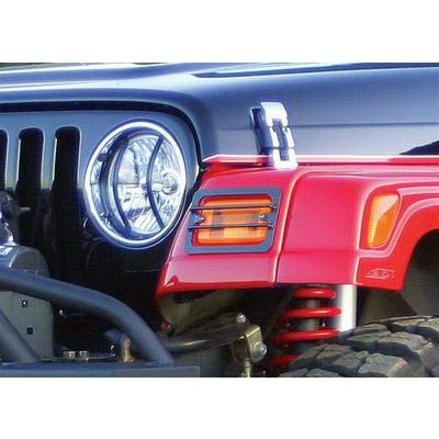 Rampage Products 86665 Black Euro Headlight Guards, 2 Piece for 1997-2018 Jeep Wrangler TJ & ()