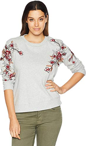 Two by Vince Camuto Women's French Terry Embroidered Sweatshirt Grey Heather ()