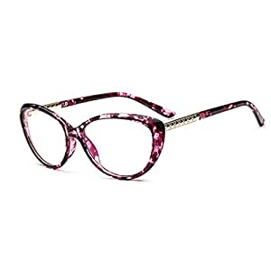 D.King Women Fashion Cat Eyeglasses Frames Clear Lens 56mm Purple
