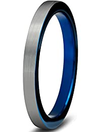 Tungsten Wedding Band Ring 2mm for Men Women Comfort Fit Blue Pipe Cut Brushed Lifetime Guarantee
