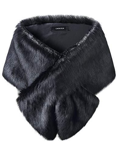 Caracilia Womens Faux Fur Shawl Wraps Stole Cloak Coat Sweater Cape for Evening Party/Bridal/Wedding