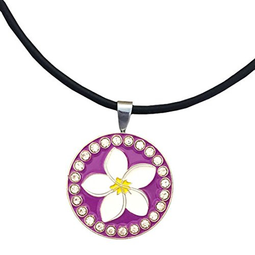 Giggle Golf Bling Plumeria Magnetic Golf Ball Marker Necklace for Women (Plumeria Clasp Necklace)