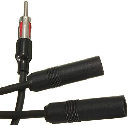 Car Stereo AM FM Antenna Splitter Y Aux Adapter 1 Male 2 Female Plug