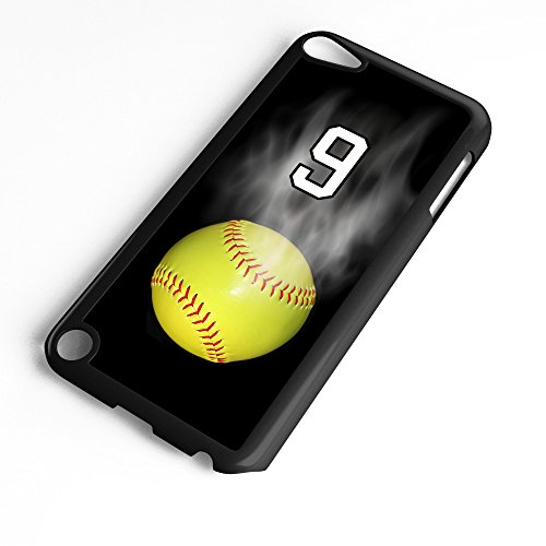 (iPod Touch Case Fits 6th Generation or 5th Generation Softball #7100 Choose Any Player Jersey Number 9 in Black Plastic Customizable by TYD Designs)