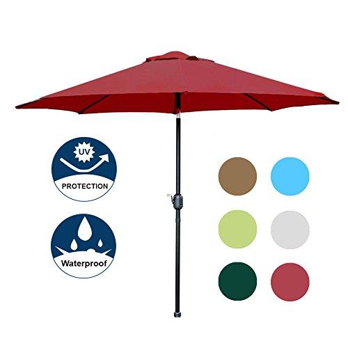 Blissun 9′ Patio Umbrella Aluminum Semi-auto Autotilt and Crank Garden Parasol (Red)