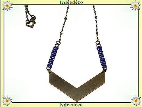 Regali Natale Per Coppia Di Amici.Collana Perle Giappone Blu Viola Triangolo Tessitura Chevron Catena