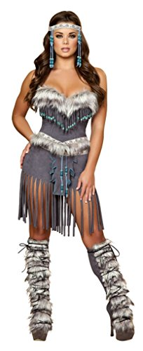 Roma Costume 3 Piece Indian Hottie Costume, Grey, Medium