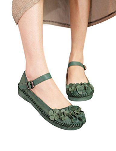 Youlee Women's Handmade Flowers Buckle Leather Shoes Green CH1TmZWE
